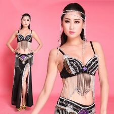 2/3 pics Bra+belt handmade beaded belly dance costume sets Top Skirt hip scarf