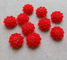 10 Resin Flower Cabochons Cabs assorted colours 16 mm