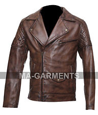 New Biker Style Brando Waxed Leather Jacket In High Quality All Sizes Available