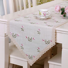YAZI Flower Embroidered Lace Bed Table Runner Home Decor Furniture Cover