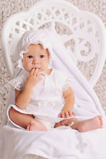 Christening Outfit Newborn Baptism Clothes Baby Girl 4 Piece White Dress Cap Set