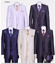 NEW 2 button Men's Slim Fit Wool Feel Suit With Matching Vest & Pants 5702V2