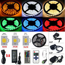 1 Roll 5M 300LED SMD 3528/5050/5630 RGB Flexible Strip Light W/Remote+Power+DC