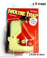 5 x Pre-Baited Mouse Traps Easy to Use Hygenic Pest Rodent Control Stop Plastic