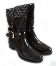 WOMEN'S FASHIONABLE GLOSSY VINYL FUNKY MID-CALF BOOTS WITH STUDS WITH OVERLAP/BR