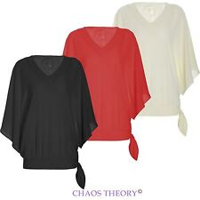 Ladies Womens Shirt Dress Lace V Neck Side Tie Cape Top Bell Sleeve Blouse
