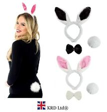 3 x BUNNY RABBIT SET Headband Ears Tail Bow Tie Easter Halloween Hen Fancy Dress