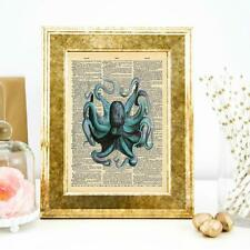 Vintage Style Octopus 2 Dictionary Wall Art Print Quote Print Home Office Decor