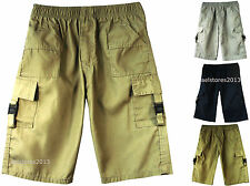 BOYS PLAIN COTTON BLEND SHORTS MULTIPOCKET ¾ LENGTH COMBAT KIDS AGE 3-14 YEARS