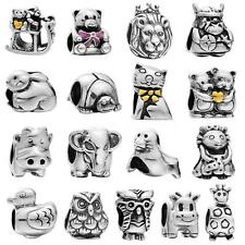 Cartoon Animal Genuine 925 Sterling Silver Charm Bead fit European Bracelet G2R7