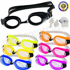 Adjustable Sports Swimming Adult Goggles Anti Fog UV Lens Earplugs & Nose Clip