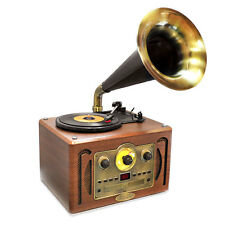 Retro Style Turntable Horn Phonograph Gramophone w/ AM/FM CD Player Bluetooth
