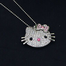 Silver Hello Kitty Crystal Jewelry USB Flash Memory Drive Necklace 8-32g