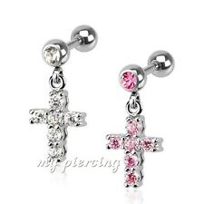 1PC. Cross CZ Gems Dangle Surgical Steel Helix Cartilage Tragus Earring Barbell