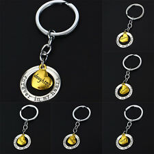 Family Keychain Silver Plated Keyring Forever In My Heart Fashion Mom Dad Purse
