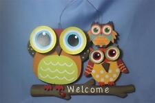 Wooden Owls Wall Hanging Plaque Owl Welcome/Spring Sign Door Wreath Decor New