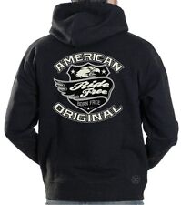 AMERICAN ORIGINAL HOODED SWEAT SHIRT ~ Eagle Wings Biker ~ Born Free, Ride Free