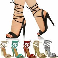 Womens Ladies New High Heels Barely There Strappy Lace Tie Up Sandals Shoes Size
