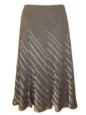 NEW M & S DIAGONAL STRIPE MIDI LENGTH PANEL SKIRT FULLY LINED MID-BROWN UK14-22