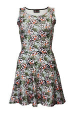 New Vintage Tropical Floral Oriental Print Retro Sleeveless Skater Flared Dress
