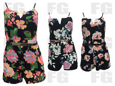Women Ladies New Summer Sexy Floral Print Metal Belt Strappy Playsuit Size 8-14