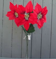 3 x Artificial Red 57cm Poinsettia Flower Stems - Christmas Flowers