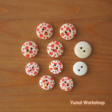 18pcs: Strawberry Pattern Round Wood Buttons Sewing Holes 15mm 18mm Craft DIY