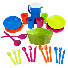 Assorted Colour Thick Plastic Party Knives Forks Spoons Bowl Plates Cups Camping