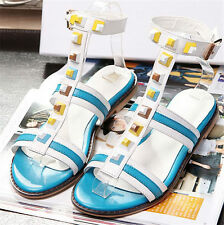 New Womens Sandals Spike Studded Strappy Roman Gladiator Flat Sandals Party Shoe