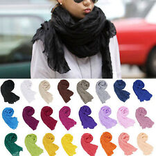 Fashion Women Girls Candy Colour Crinkle Long Soft Scarf Wrap Shawl Stole FN