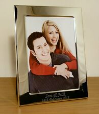 Personalised Engraved 7x5 Portrait Photo Frame, Silver Plated