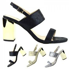 Womens Ladies New Mid Gold Block Heel Party Sandals Ankle Strappy Wedding Shoes