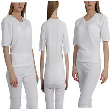 NEW WOMENS LADIES SPENCER SHORT SLEEVE& LONG JEANS THERMAL UNDERWEAR SET, WHITE