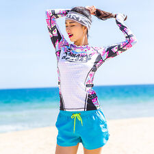 Women Long Sleeve Rash Guard Vest Sun Shirt Surf Swim Lycra Beach Top Swimwear