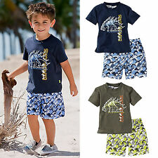 Summer Baby Toddler Kids Boys Casual Dinosaur Tops T-Shirts Pants Outfits Sets