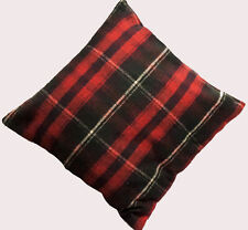 """Wool Plaid Cushion Cover 16"""" x 16"""" Soft pillow Cover Blue Red beige zip Check"""