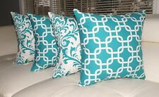 Turquoise Pillow, Damask Pillow, Geometric Decorative Throw Pillows - Set of 4