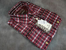 NEW Mens MANZINI Button Dress Shirt Red and Black Plaid with Sheen French Cuff