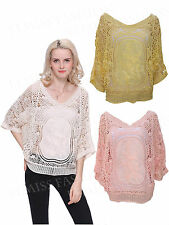 Women's Off Shoulder Lace Batwing Crochet knitted Top Ladies Embroidery Blouse