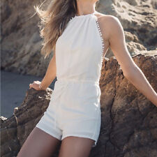 Sexy Women's Short Backless Rompers Halter Neck Jumpsuit Playsuits Overall