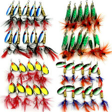 Lot 10pcs Metal Spoon Fishing Lure Spinner Bait Sequins Fishing Hook Tackle Set