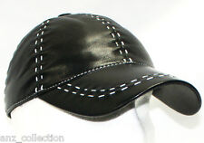 Baseball Unisex Black White Ladies Soft Lambskin Leather Hip Hop Cap Hat Velcro