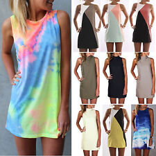 Womens Summer Sleeveless Mini Tank Dress Ladies Casual Beach Sundress Plus Size