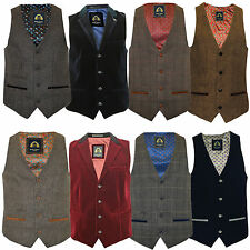 Mens Marc Darcy Waistcoat Tweed Herringbone Velvet Trim Stretch Formal Lined