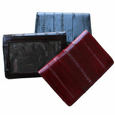 Genuine Eel Skin Leather Trifold Wallet Credit Card Wallet Men's Purse