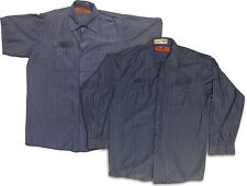 Red Kap Men's Industrial Stripe Work Shirt Grey/Blue Short and Long Sleeve  SPEX