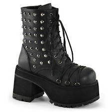 Demonia Ranger-208 Black Vegan Leather Platform Boots - Gothic,Goth,Punk,Black,B