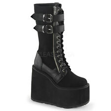 Demonia Swing-220 Canvas & Vegan Leather Platform Wedge Boots - Gothic,Goth,Punk