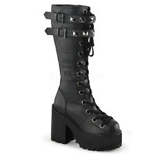 Demonia Assault-202 Studded Buckle Platform Boots - Gothic,Goth,Punk,Black,Boots