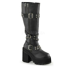 Demonia Assault-203 Studded Buckle Platform Boots - Gothic,Goth,Punk,Black,Boots